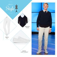 Ellen's Look of the Day: sweater, white jeans, white shoes