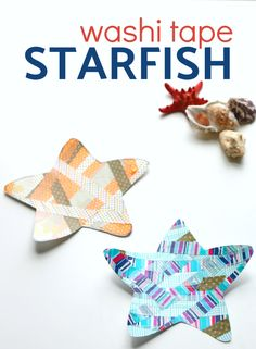 Easy starfish craft that uses washi tape to make colorful sea creatures. Free printable starfish included all you need to do is add tape! Preschool Arts And Crafts, Easy Arts And Crafts, Classroom Crafts, Easy Crafts For Kids, Kindergarten Classroom, Kid Crafts, Easy Sewing Projects, Diy Craft Projects, Craft Ideas
