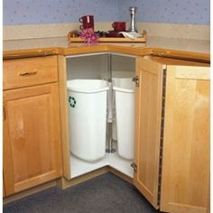 "The best use for a ""lazy susan"" type corner cabinet ever! Recycling Center Rotary Mounts to Cabinet Door 3 Bins 32 Quarts White Kitchen Redo, New Kitchen, Kitchen Cabinets, Corner Cabinets, Awesome Kitchen, Kitchen Ideas, Skinny Kitchen, Kitchen Makeovers, Kitchen Counters"