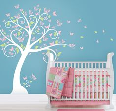 Butterfly Blossom Tree Wall Decal, Tree with Butterflies and Leaves for a Baby Nursery, Kids or Childrens Room. $72.00, via Etsy.