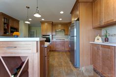 Dayton Maple Caramel Mission Kitchen Cabinets from CliqStudios.com