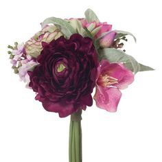 Ranunculus Mixed Bouquet 9 Inch Purple - Products - 1825 interiors
