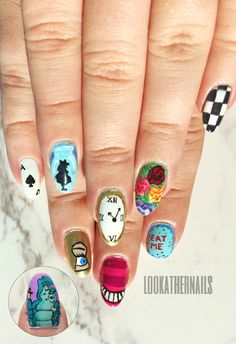 Alice in Wonderland inspire nail art By LookAtHerNails