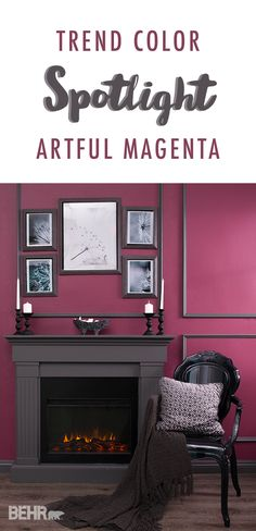 Add some elegance to your life with this trendy shade of Artful Magenta. This warm, rich burgundy is great for entertaining spaces like the living roo… – Living room Magenta Walls, Burgundy Walls, Color Magenta, Burgundy Living Room, Living Room Green, New Living Room, Magenta Bedrooms, Interior Design Color Schemes, Interior Design Pictures