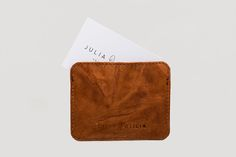 Conscious gift idea for Father Day! Slender Card Wallet, cinnamon brown. Handmade in The Netherlands in Natural Raw Leather.