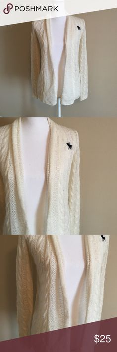 Abercrombie kids cardigan Cream cable knit cardigan. Shows some sign of wear. No holes or stains. abercrombie kids Shirts & Tops