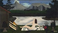 """Horace Pippin - """"Lady of the Lake"""" - 1937... """"a self taught artist from West Chester, PA, who started making art at the age of 37...."""""""