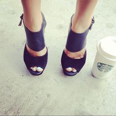 Bright blue varnish, big heels and a major caffeine fix #Nails