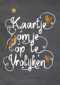 Hippe beterschapskaart met krijtbord print, vogel  en koper kleurige hartjes. De tekst heeft het hippe Hand Lettering dat vast staat op de kaart.