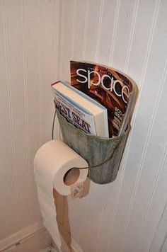Metal Basket As Magazine And Toilet Paper Holder Something Like This Might Be Cool If I Ever Had The Chance To Read A Magazine In The Bathroom