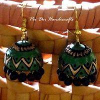 Terracotta Jhumkas - Green Gold  V  $5