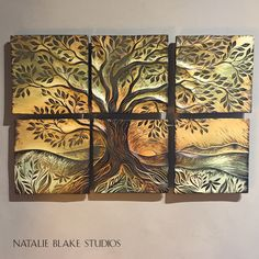 """""""Warm Little Tree"""" ~ 6"""" x 6"""" handmade sgraffito carved tiles ~ ready for purchase!"""