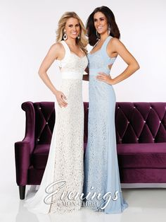 Evenings - MCE11635 - Sizes: 0-16     Colors: Ivory, Periwinkle