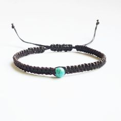 Single line frindship bracelet with turquoise bead for everyday jewelry. :)