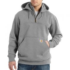 Carhartt Men's Paxton Heavyweight Mock Sweatshirt - Grey - Mills Fleet Farm