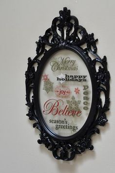 Art using frames and window clings! This would be so easy! And it doesn't have to be Christmas themed.