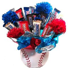 Revel in the sweet taste of liberty, baseball, and confections with this all-American candy bouquet. Consisting of a ceramic baseball chock-full of fun-sized sweets, this grand slam gift is perfect fo
