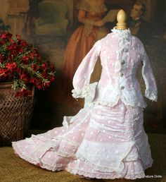 Antique French Fashion Doll Dress with Amazing Bustle and Train from signaturedolls on Ruby Lane