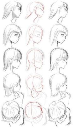 ▷ 1001 + ideas on how to draw anime - tutorials + pictures face drawing, from different angles, anime boy drawing, black and white, pencil sketch Drawing Heads, Drawing Poses, Manga Drawing, Drawing Tips, Woman Drawing, Drawing Drawing, Drawing People Faces, Braid Drawing, Anime People Drawings