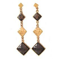 Young & Restless ~ Phyllis Newman ~ Gold + Brown Dangle Fashion Jewelry Earrings As Seen on CBS TV