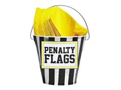 Yellow Napkins at Super Bowl Party = Penalty Flags. I love it.