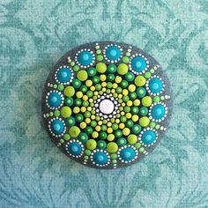 Jewel Drop Mandala Painted Stone sea urchin fern от ElspethMcLean