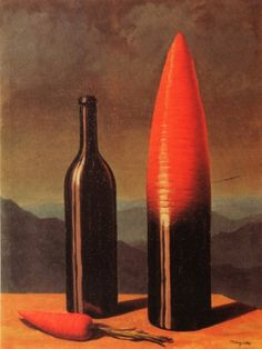 René Magritte: The Explanation - 1952. The art has a form of 2d form of the bottle and carrot.