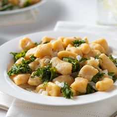 Coconut Gnocchi with Garlic Creamed Kale - dairy-free, vegan, gluten-free and from scratch! Fast Metabolism Recipes, Healthy Eating Recipes, Delicious Vegan Recipes, Veggie Recipes, Real Food Recipes, Vegetarian Recipes, Dinner Recipes, Real Foods, Restaurant Recipes