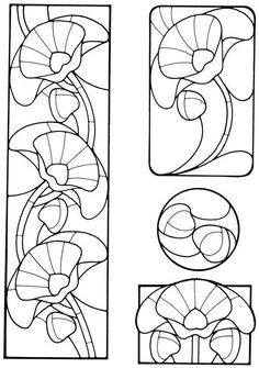 Art Nouveau Stained Glass Pattern Book: