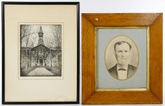 """Lot 176: George A. Bradshaw (American, 1880-1968) """"Nassau Hall, Princeton University"""" Etching; Undated, pencil signed lower right and with a Princeton, NJ gallery label en verso; together with a enhanced print of a Victorian male in an oak frame"""