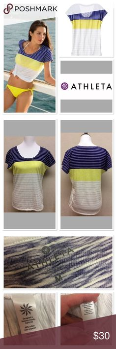 """M ATHLETA sweet escape t amalfi blue medley stripe Brand: ATHLETA  Style: sweet escape tee Size: M Measurements: 18"""" inches pit to pit 24.5"""" shoulder to hem Material: 60% cotton 40% polyester Features: nautical blue, yellow and white stripes, soft light material  Condition: EUC Athleta Tops"""
