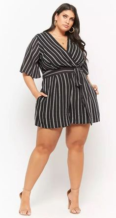 Plus Size Striped Surplice Belted Romper Older Women Fashion, Big Girl Fashion, Curvy Fashion, Plus Size Fashion, Womens Fashion, Fashion Black, Plus Size Romper, Plus Size Jeans, Plus Size Dresses