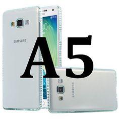 Glitter Diamond Frame Slim Soft Silicone Transparent Cover Cellphone Case for Galaxy A5, A500, etc.- 6 Colors