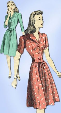 1940s Vintage Du Barry Sewing Pattern 5893 WWII Misses Shirtwaist Dress Size 14