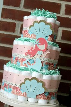 3 Tier Mermaid Diaper Cake Peach Coral Teal by BabeeCakesBoutique