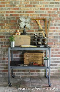 Industrial Cart Makeover Project Krud Kutter Gloss of takes away the step of sanding and finish it off with Rust-Oleum Universal Metallic Spray Paint to give it the industrial look!