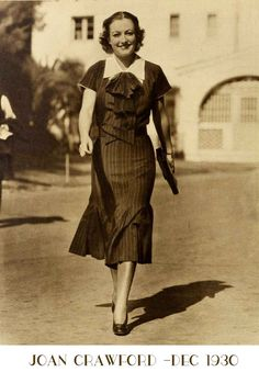 """JOAN CRAWFORD who probably typifies more than anyone else on screen the bare legged, sun tanned flapper says """" I love these new styles, the shapely tight to the legs fit is most pleasant to wear and flattering to my figure"""" the recent Mrs Fairbanks is wearing stockings for the first time in four years – but only for her street costumes. """" I still prefer the stocking less leg for evenings and as far as I'm concerned they will always be in vogue"""" Read more .............."""