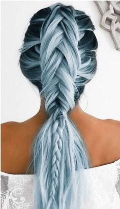 Blue ombre braid #hair #hairtips #hairextensions #beauty #hairstyle #chicagohairextensionssalon