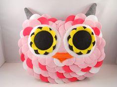 handmade stuffed toy owl pillow owl plush b e l l a by karensagez, $65.00