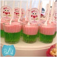 Paal Uh. Mesa de Postres & Snacks. Dulces. Rosa. Búho. Niña. Gelatina cute. Baby Shower. Pink.   Candybar.