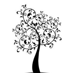Linda árvore de arte isolado no fundo branco