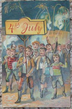 Boys in Marching Band on 4th of July Postcard c1910