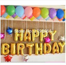 13pcs/lot Cute Gold Alphabet Letters Balloons Happy Birthday Party Decoration Aluminum Foil Membrane Ballon Wholesales(China (Mainland))