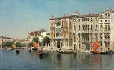 Vista del palacio Franchetti y del palacio Barbaro en el Gran Canal 1894