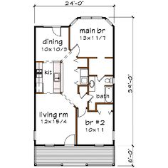 Bungalow Style House Plan - 2 Beds 1 Baths 893 Sq/Ft Plan #79-106 Floor Plan - Main Floor Plan - Houseplans.com
