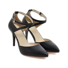 Meotina High Heels Shoes Women Pumps Buckle Strap Sexy Thin High Heels Two Piece Heels Pointed Toe Fashion Ladies Shoes 34-43-Women's Pumps-Enso Store-Black-4-Enso Store