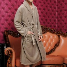 Discount China china wholesale Thickened Mens Coral Fleece Sash Pocket Long Sleeve Long Sleepwear Nightgown Simple Bathwear [31770] - US$24.99 : DealsChic