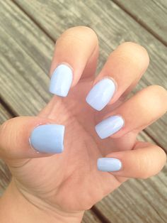 Blue nails, blue acrylics, baby blue nails, baby blue acrylics, fake nails, square nails, square acrylics, blue fake nails
