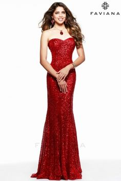 Strapless, baby sequin dress with sweetheart neck. #Faviana Style 7578