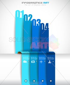 stock illustration of vertical gradient grey infographic background with three overlapping blue stripes in descending order